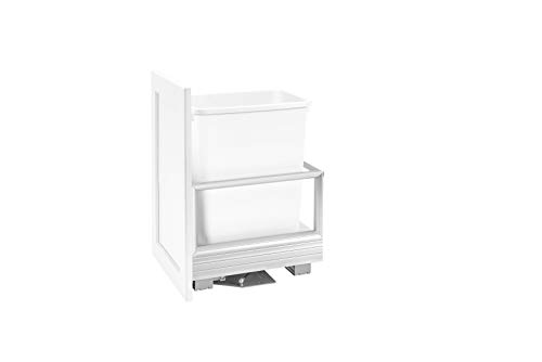 Rev-A-Shelf - 5149-15DM18-111 - Single 35 Qt. Pull-Out 18 in. D Brushed Aluminum and White Waste Container with Rev-A-Motion