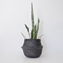 Eco- Friendly Medium Seagrass Baskets in Black - Handmade from Natural Seagrass - Many Uses for The Home and Practical