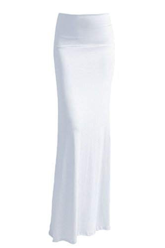 VIV Collection Womens Rayon Modal Solid Flared Maxi Long Skirt (White, XX-Large)