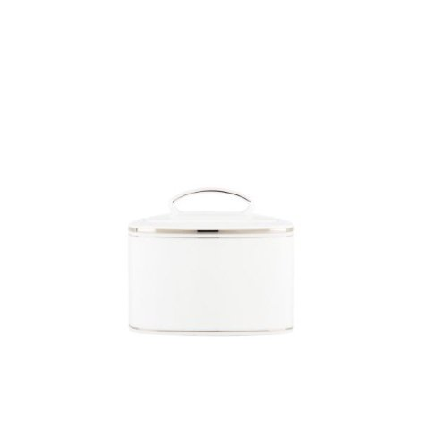 Kate Spade New York Women's Library Lane Platinum Sugar Bowl with Lid White Serveware by Kate Spade New York (Image #1)