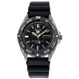 (Seiko 5 Black Dial Rubber Strap Automatic Mens Watch SNZB23J2 by Seiko Watches )