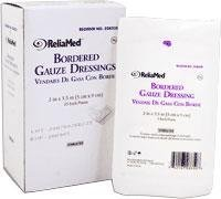 Reliamed Bordered Gauze Dressing, 2'' X 3 1/2'', Sterile, Latex Free, 25/box Nonadherent Contact Layer with Absorbent 100% Cotton Pad Covered with an Adhesive-coated, Nonwoven Tape Overlay
