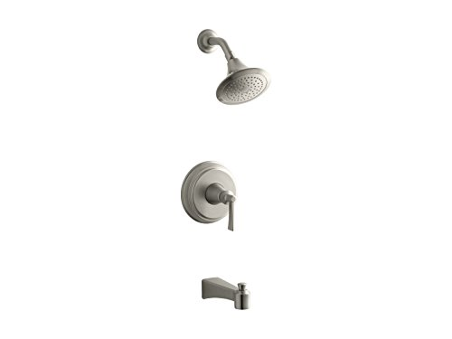 KOHLER TS11077-4-BN Archer(R) Rite-Temp(R) bath and shower valve trim with lever handle, spout and 2.5 gpm showerhead ()