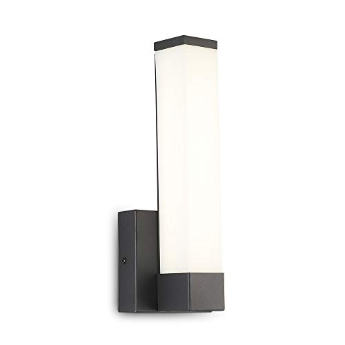 Vanity Light Fixture 6W LED Bedside Wall Sconce 11.8inch Acrylic Shade Square Tube Nickel Finish Wall Light Lamps for Bathroom Kitchen Bedroom (Black 4000k)