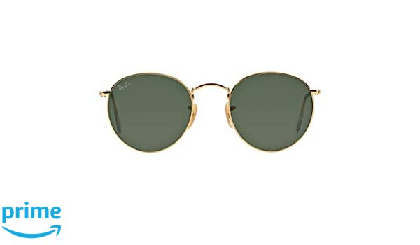 6015cafebd7 Amazon.com  Authentic Ray-Ban RB 3447 001 50mm Round Metal Gold Frame Green  Lenses  Clothing