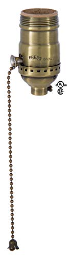 B&P Lamp Brass Pull Chain Socket, Antique Brass Finish, Pull Chain, On/Off Function, Uno Thread Shell ()
