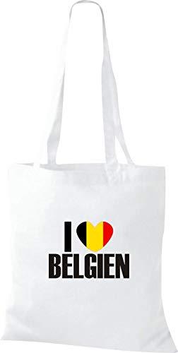 Love Países I Bolsa De Shirtinstyle Land Tela Algodón Blanco Bélgica qOXUS