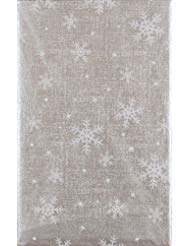 Winter Wonderland Flannels - Mainstream Christmas Snowflakes Delight Vinyl Flannel Back Tablecloth (Silver, 52