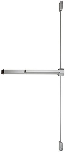 Von Duprin 2227EO Surface Mounted Vertical Rod Exit Device from the 22 Series for 3' Wide Doors, Sprayed Aluminum Finish by Von Duprin