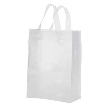 Frosted Plastic Shopping Bag With Handles , 8 X 5 X 10 Frosted Plastic Shopping Bags With Handles Color: Clear Size: Small Case Of 250 These Frosted, Clear Plastic Shopping Bags Are A Popular Choi