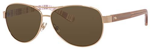 Kate Spade Women's Dalia2/P/S Polarized Aviator Sunglasses, Light Gold/Brown, 58 ()
