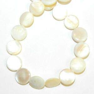 (MP2643 White to Peach 11mm Flat Round Mother of Pearl Shell Gemstone Beads 15