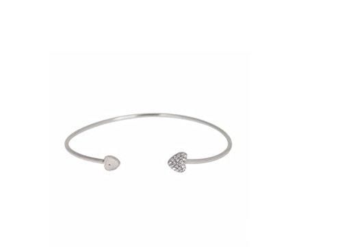 ILOVEDIY Eleganter Gold Armreif | Armband mit Steinchen | Herz Abschluss | Herz in Gold | Herz besetzt mit Steinchen| kostenlose Lieferung (Silber)