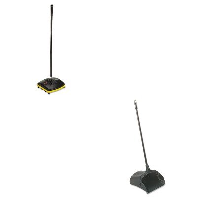 KITRCP253100BKRCP421288BLA - Value Kit - Floor amp; Carpet Sweeper (RCP421288BLA) and Rubbermaid-Black Lobby Pro Upright Dust Pan, Open Style (RCP253100BK) by Rubbermaid