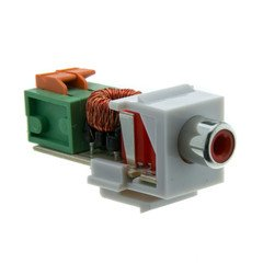 Dealsjungle Keystone Insert, White, RCA Female to Balun over twister pair (Red RCA), Working Distance 350 foot