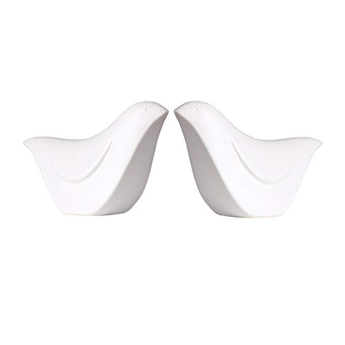 MTSCE Ceramic Birds Porcelain Bird Figurines Home Decor Bird, Set of 2(XN02 White-Small)