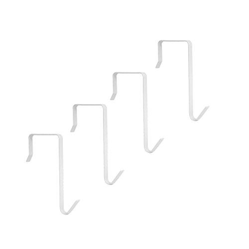 HanLingGG 4 Packs Over the Door Hanger Hook Pocket Chart Hanging Hooks Metal Space Saving Organizer for Coat, Towel, Bag, Robe,Clothes - ()