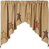 Cheap VHC Brands Primitive Kitchen Window Curtains – Stratton Tan Burlap Applique Star Swag Pair