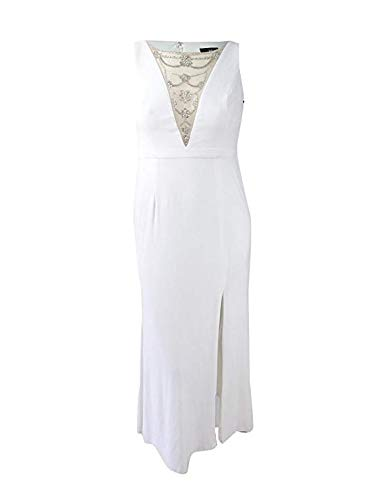 Adrianna Papell Women's Jersey Halter Gown W/Illusion Dress, Ivory, 4