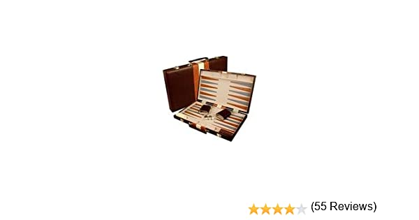Amazon large 18 leatherette backgammon set brown toys games publicscrutiny Choice Image