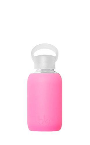 bkr - BEST Original Glass Water Bottle - Premium Quality - Soft Silicone Protective Sleeve - BPA Free - Dishwasher Safe (8oz/ 250ml)-Bambi - Sheer Neon - Basketball Best Glasses