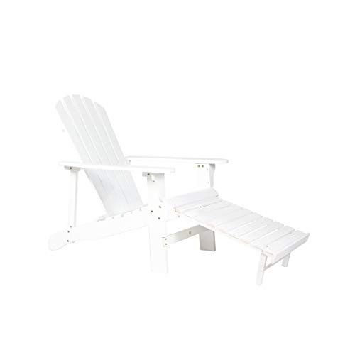 ICC Furniture Outdoor Adirondack Chair White Painted Fan Back Design with Footstool
