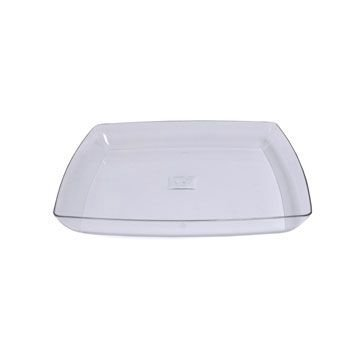 White Square Plastic Serving Tray 12-inch (1, Clear)