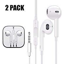 2 Pack Earbuds Ear Buds Earphones Headphones for iOS Headphones I7 8 x max Headphones with Microphone Stereo Sound Mic Remote Volume Control for i7 8 x max Plus Compatible with 3.5 mm Headphone