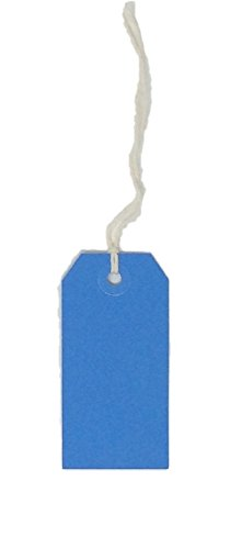 USA-Made Gift Tags Pre-Strung in Variety of Colors and Sizes (#3 = 3.75 x 1.875 inches, PRE-STRUNG BLUE)