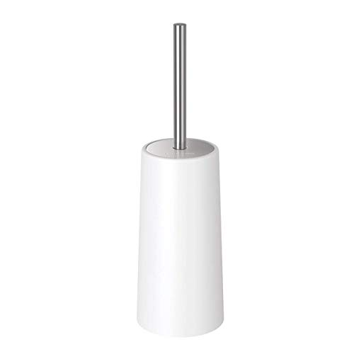 Homemaxs Toilet Brush and Holder Modern Design Longer Brush and Heavy Enough for Bathroom Toilet