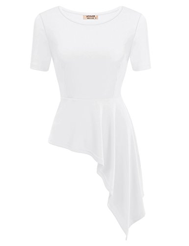 ACEVOG Women Sleeve Asymmetrical Peplum