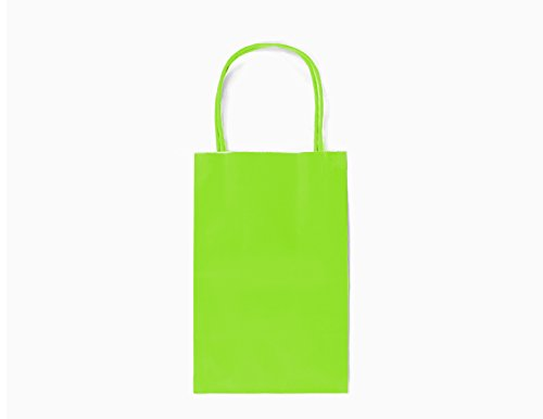 GIFT EXPRESSIONS 24CT SMALL LIME GREEN BIODEGRADABLE, FOOD SAFE INK & PAPER, PREMIUM QUALITY PAPER (STURDY & THICKER), KRAFT BAG WITH COLORED STURDY HANDLEs (Small, Lime Green) -