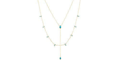 Clio Blue Collier Mimi en argent 925, dorure or 18K, Turquoise, 4.7g