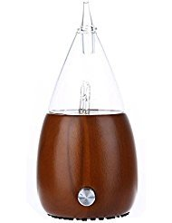 Pawaca Nebulizing Pure Essential Oil Aromatherapy Diffuser, Auto Shut Off/ LED Light Aroma Nebulizer, No Heat/ Water/ Plastic for Professional Use/ Spa/ Home/ Office (Glass Reservoir+ Dark Wood Base)