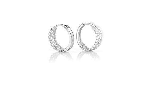 Sterling Silver CZ Pave Small Hoop Huggie Earrings Cuffs Non Pierced Ear Clip (Small Hoop Non Pierced Earrings)