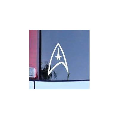 CMI180 Star Trek Federation Logo Vinyl Decal - White Window Sticker: Automotive