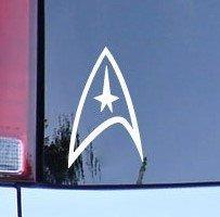 CMI180 Star Trek Federation Logo Vinyl Decal - White Window Sticker