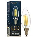 LED 4W Candle Filament Bulbs, E12 Candelabra base, 40 Watt Incandescent Chandelier Bulb Equivalent, 2700K Warm White, 400LM, UL Listed, Clear Glass Cover, C35 Torpedo Shape, Bullet Top