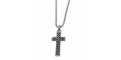 Zoppini Stainless Steel Black Enamel Cross (Zoppini Black Pendant)