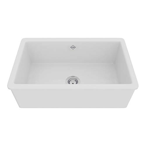 (Rohl UM3018WH Shaws Classic 30-Inch Single Bowl Modern Undermount Fireclay Kitchen Sink, White)
