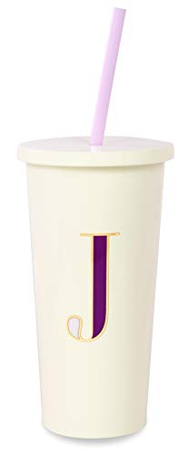 Kate Spade New York Insulated Initial Tumbler with Reusable Silicone Straw, 20 Ounces, J (Purple)