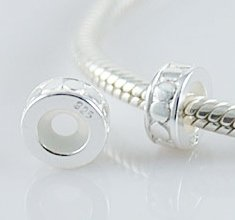 Pro Jewelry (Set of 2) .925 Sterling Silver Round Stopper with Rubber Beads 2013