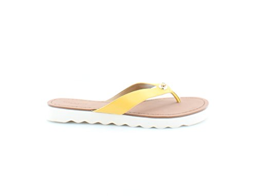 Coach Shelly Women Open Toe Leather Flip Flop Sandal Canary TpF6oCjg