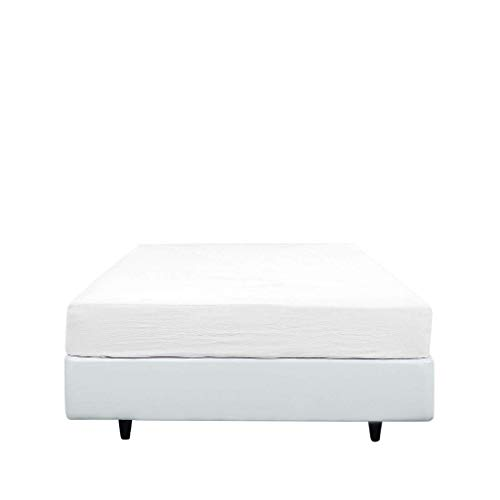Deal Natural 800 TC 1 Piece Mattress Fitted Sheet Only 9 Inch Deep Pocket Queen Size Fitted Sheet Only Solid White, Soft, Silky with Sateen Weave - by The Great American Store ()