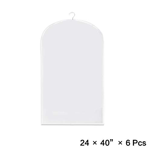 Pack of 6 Clothes Garment Bag, Light Weight,Dust-proof,Full Clear Zipper Suit Bag,Clothes Storage Suits Dress Dance or Travel(6 pack x 40'') by ZONEYILA