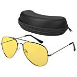 Night Driving Glasses Anti Glare Polarized Aviator Sunglasses for Women Men, Rainy Safe HD Night Vision Glasses with Yellow UV400 TAC Lenses for Sports Outdoor Activities, Glasses Case ()