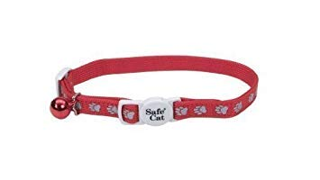 Coastal Pet - Reflective Safe Cat Collar with Paw Prints (Red) (2-Pack)