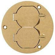 Pack of 10 Hubbell S3925 Brass Round Floor Box Duplex Cover 3.88''