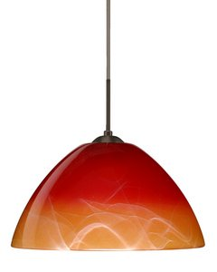 Besa Lighting 1KX-4201SL-LED-SN 1X6W GU24 Tessa LED Pendant with Solare Glass, Satin Nickel Finish