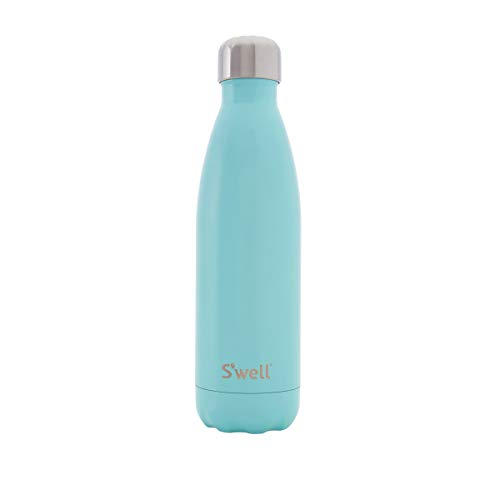 S'well SATB-17-A15 Vacuum Insulated Stainless Steel Water Bottle, Double Wall, 17 oz, Turquoise Blue